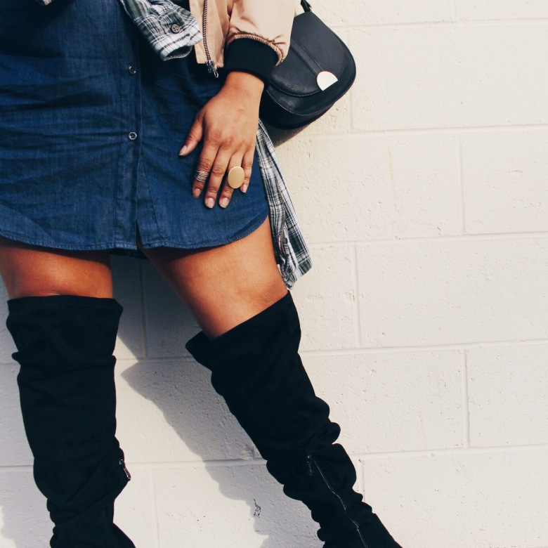plus size fashion thigh high suede boots